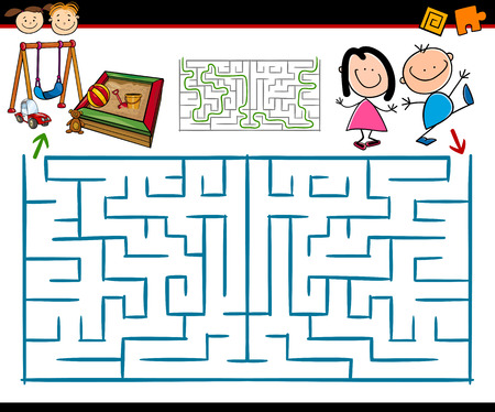 Illustration pour Cartoon Illustration of Education Maze or Labyrinth Game for Preschool Children with Playground - image libre de droit