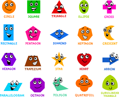 Illustration for Cartoon Illustration of Educational Basic Geometric Shapes Characters with Captions for Preschool or Primary School Children - Royalty Free Image