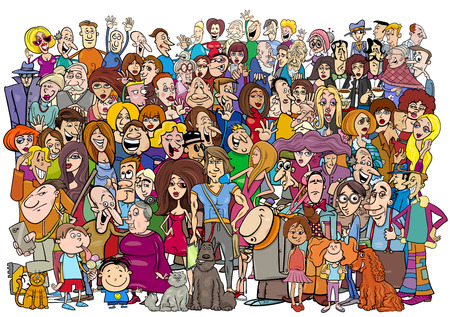 Illustrazione per Cartoon Illustration of Large People Group in the Crowd - Immagini Royalty Free