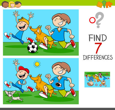 Illustration pour Cartoon Illustration of Finding Differences Between Pictures Educational Activity Game with Funny Playful Children Characters with Dogs - image libre de droit