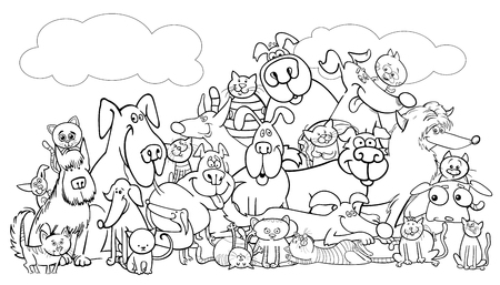Illustrazione per Black and white cartoon illustration of dogs and cats. Animal comic characters group. Coloring book, vector illustration. - Immagini Royalty Free