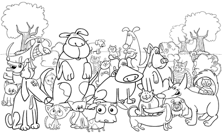 Illustrazione per Black and White Cartoon Illustration of Dogs and Cats Animal Funny Characters Group Coloring Book - Immagini Royalty Free