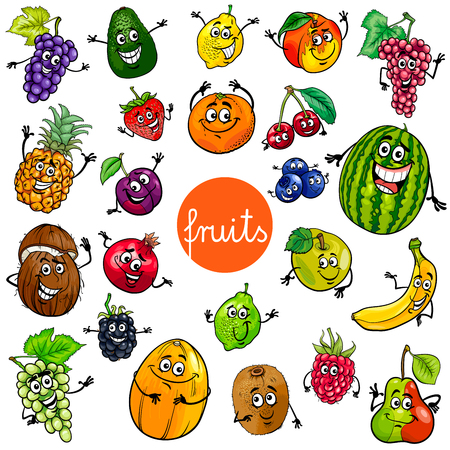Illustrazione per Cartoon Illustration of Fruits Comic Food Characters Big Set - Immagini Royalty Free