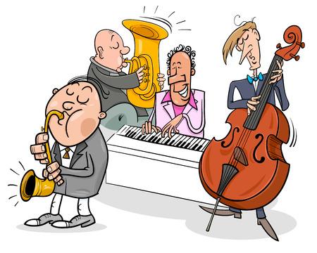 Illustration pour Cartoon Illustration of Jazz Musicians Band Playing a Concert. - image libre de droit