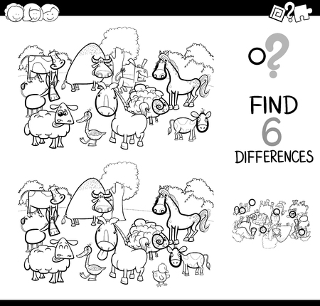 Illustration pour Black and White Cartoon Illustration of Find and Spot Six Differences Between Pictures. - image libre de droit