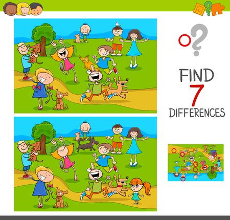 Illustration pour Cartoon Illustration of Finding Seven Differences Between Pictures - image libre de droit