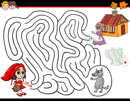 Illustrazione per Cartoon Illustration of Education Maze or Labyrinth Activity Game for Children with Little Red Riding Hood - Immagini Royalty Free