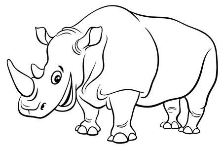 Illustration pour Black and White Cartoon Illustration of Funny Rhinoceros Wild Animal Character Coloring Page - image libre de droit
