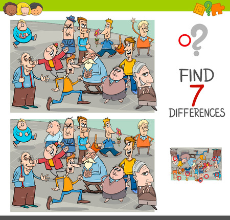Illustration pour Cartoon Illustration of Finding Seven Differences Between Pictures Educational Activity Game for Children with People Characters Group - image libre de droit