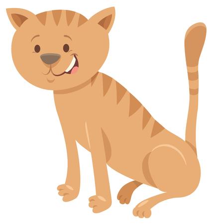 Illustrazione per Cartoon Illustration of Cute brown Cat Funny Animal Character - Immagini Royalty Free