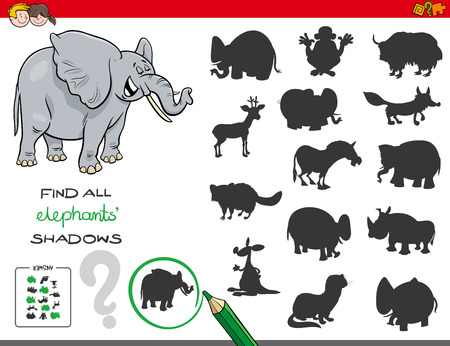 Ilustración de Cartoon Illustration of Finding All Elephant Shadows Educational Activity for Children - Imagen libre de derechos