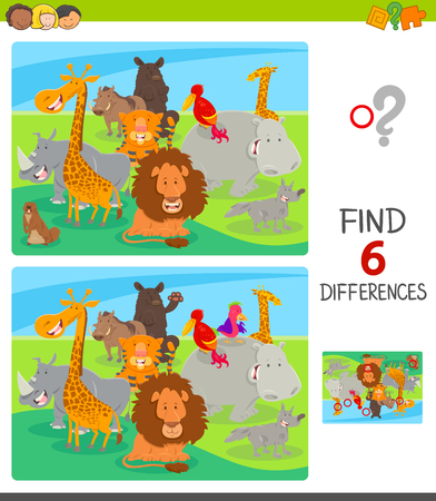 Illustration for Cartoon Illustration of Finding Six Differences Between Pictures Educational Game for Children with Happy Animals - Royalty Free Image