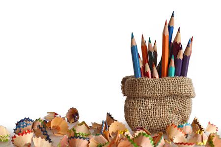 Photo pour Colored pencils in burlap bag - image libre de droit