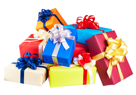 Foto de Piles of gift boxes wrapped in colorful paper, ribbon, bow ,Isolated on white. for anniversary, new year, birth day - Imagen libre de derechos
