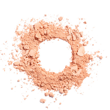 Photo for Cosmetic powder beige color crushed blush palette isolated on white - Royalty Free Image
