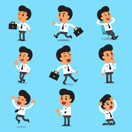 Illustration pour Cartoon businessman character poses - image libre de droit