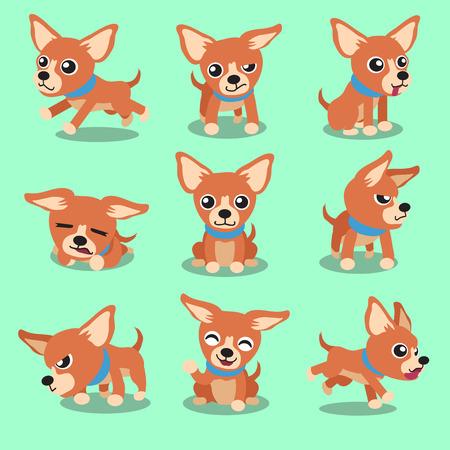 Cartoon character brown chihuahua dog poses