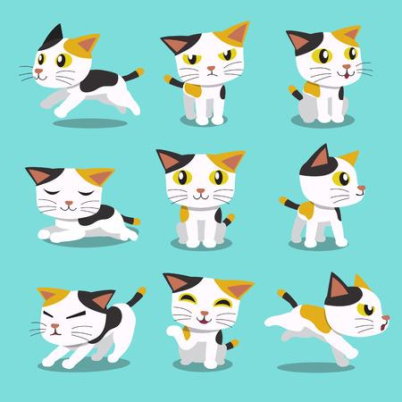 Ilustración de Set of Cartoon character cat poses - Imagen libre de derechos