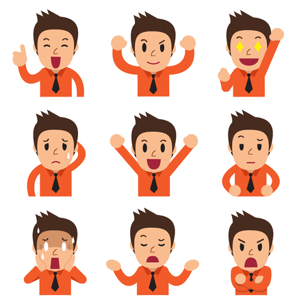 Illustrazione per Cartoon businessman faces showing different emotions - Immagini Royalty Free