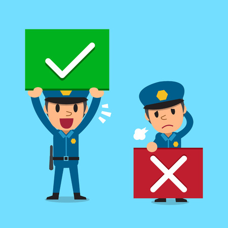 Illustrazione per Cartoon policeman with right and wrong signs - Immagini Royalty Free