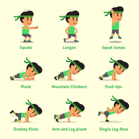 Illustration for Cartoon set of a man doing exercises for health and fitness - Royalty Free Image