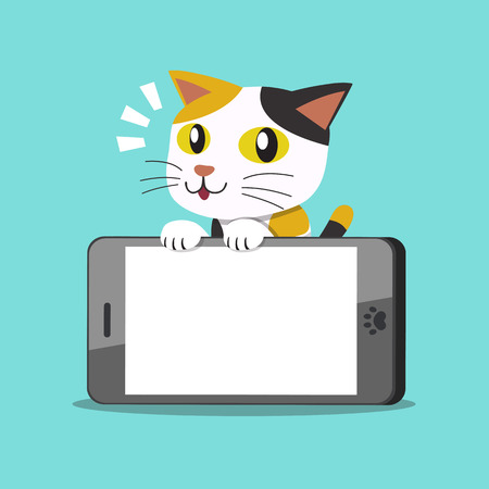 Illustrazione per Vector cartoon character cute cat and big smartphone - Immagini Royalty Free