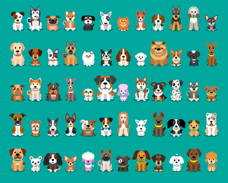 Ilustración de Different type of vector cartoon dogs - Imagen libre de derechos