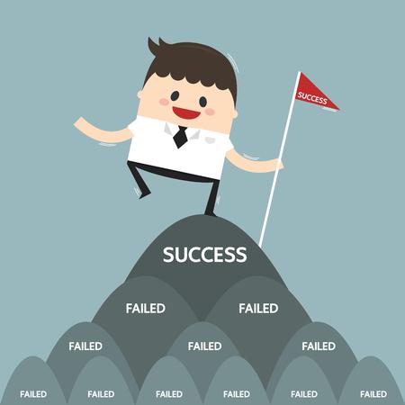 Ilustración de Successful businessman on top mouthain, success concept, flat design - Imagen libre de derechos
