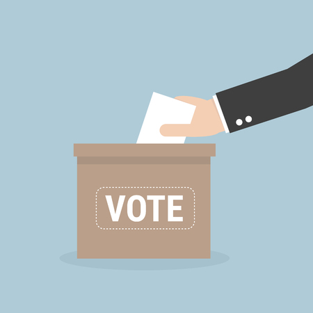 Illustration pour Voting concept in flat style - hand putting voting paper in the ballot box - image libre de droit