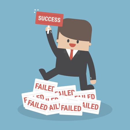 Ilustración de Successful businessman holding a sign. - Imagen libre de derechos