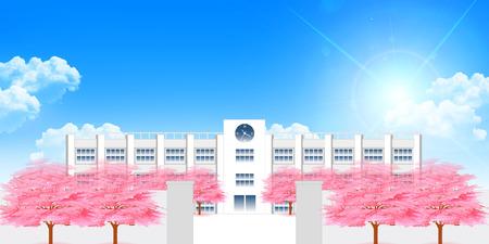School Cherry Spring background