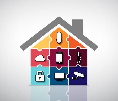 Ilustración de Home automation - smart house info graphic - Imagen libre de derechos