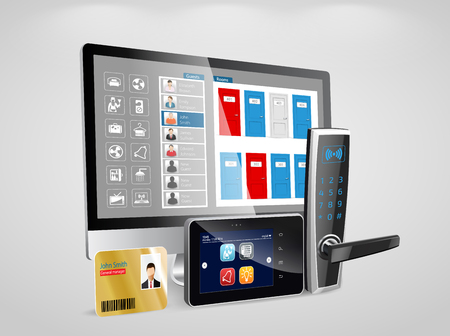 Ilustración de Access control and management system for Hotels and Hospitals - Imagen libre de derechos