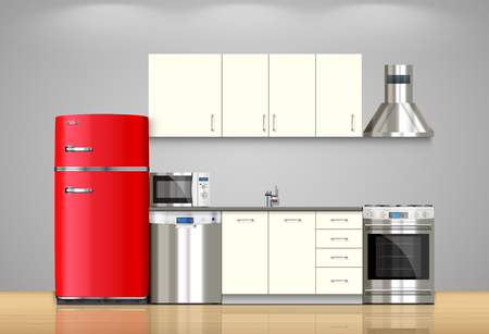 Illustration pour Kitchen and house appliances: microwave, washing machine, refrigerator, gas stove, dishwasher, TV. - image libre de droit