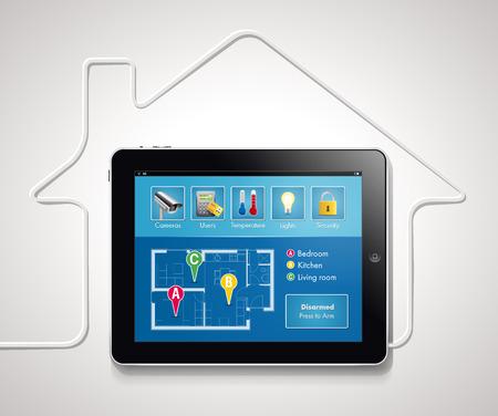 Illustration pour Home automation - smart security and automated system - image libre de droit