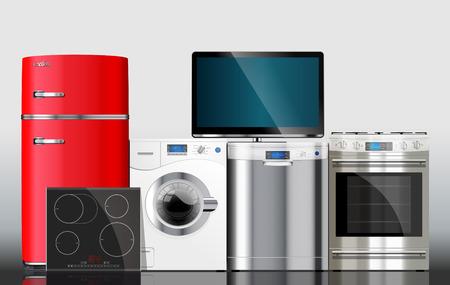 Illustration pour Kitchen and house appliances: microwave, washing machine, refrigerator, gas stove, dishwasher, TV. - image libre de droit