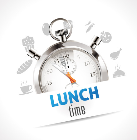Illustration pour Stopwatch - lunch time - image libre de droit