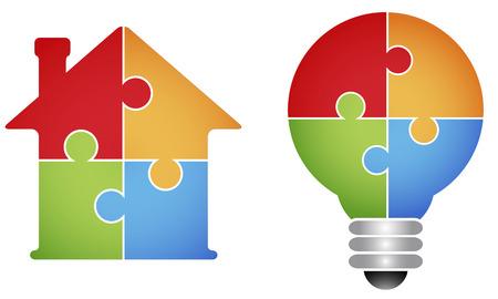 Ilustración de Puzzle - house and light bulb - Imagen libre de derechos