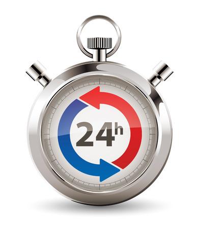 Ilustración de Stopwatch - fast delivery - twenty-four hours service concept - Imagen libre de derechos