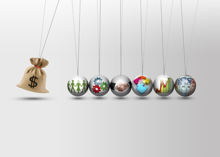Foto de Newtons cradle - impact investing - economy growth concept - Imagen libre de derechos