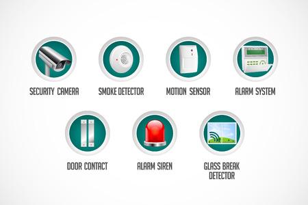 Ilustración de Home security system - motion detector, glass break sensor, gas detector, cctv camera, alarm siren alarm system concept - Imagen libre de derechos