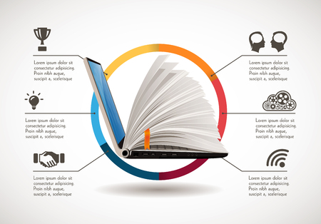 Ilustración de IT Communication - e-learning - the internet as knowledge base - Imagen libre de derechos
