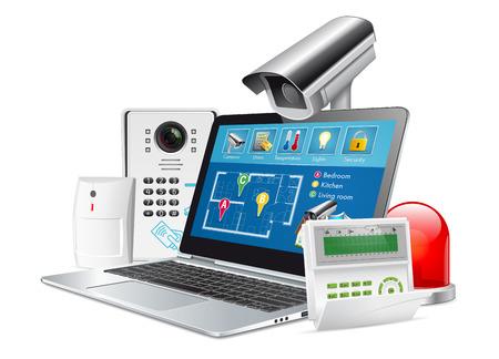 Illustration pour Access control concept - home security system - image libre de droit