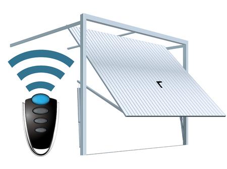 Illustration pour Automatic wireless garage door system - remote open - image libre de droit