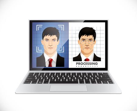 Ilustración de Face recognition system - Computer software concept - Imagen libre de derechos