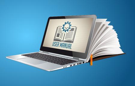 Illustration pour Book as knowledge base - User guide manual concept - image libre de droit