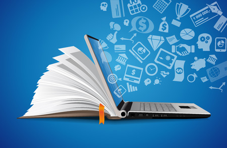 Ilustración de Computer as a knowledge base concept - laptop as elearning idea - Imagen libre de derechos