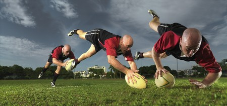 multiple images of rugby player scoring