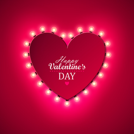 Illustration pour Valentine`s day background with bright lights - image libre de droit