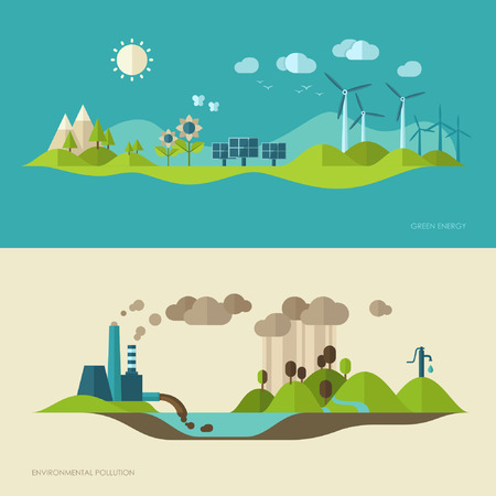 Illustration pour Flat design vector concept illustration with icons of ecology, environment, green energy and pollution - image libre de droit